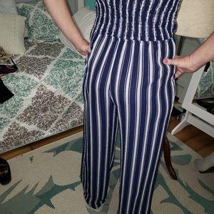 Rue21 Pants - Rue 21 Blue/white Jumpsuit